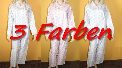 Damen Schlafanzug lang gewebte Baumwolle (Gr. 36/38 & 40/42) Atisa in 3 Farben - Baumwolle Gewebte Pyjama-set