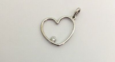 Diamond Set Open Heart (OPEN HEART WITH BEZEL SET DIAMOND PENDANT 14K WHITE GOLD )