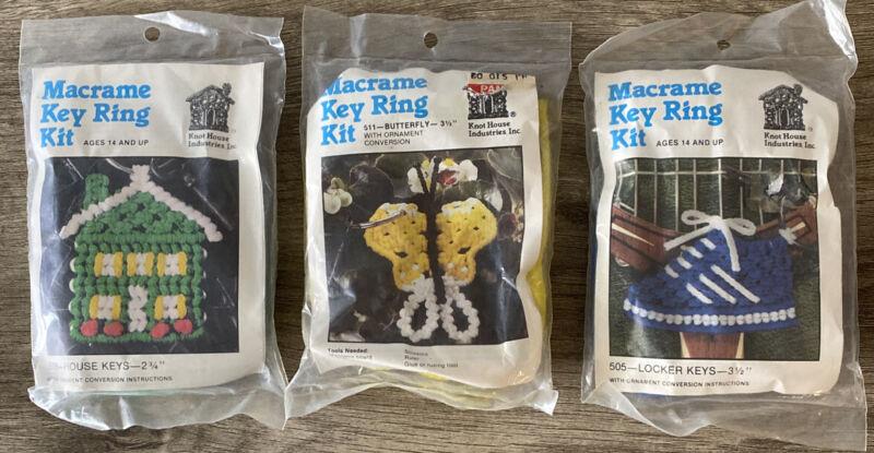 VINTAGE Lot Of 3 Macrame Key Ring Kits House/ Butterfly/ Locker Prompt Shipping
