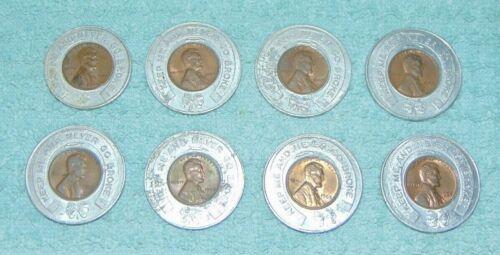 Lot of 8 Vintage Advertising Tokens w/ Encased Penny 1964 1965