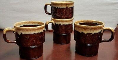 VTG  Retro Made In Japan brown drip Embossed  Stacking Coffee Mug LOT 4