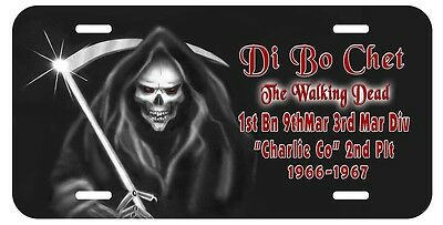 Grim Reaper Auto License Plate Personalize Gifts Men Goth 1/9 Di Bo Chet Marines