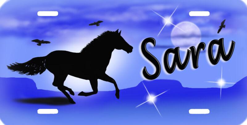 Stallion Mustang Running Horse Blue Gifts Personalize Girls Ladies Men