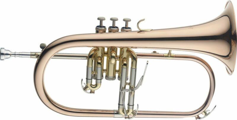 Stagg Bb Flugelhorn Goldbrass Instrument with Soft Case - LV-FH6205