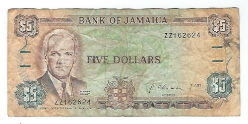 "Jamaica - Five (5) Dollars,  1991   ""ZZ"" !!Replacement!!"