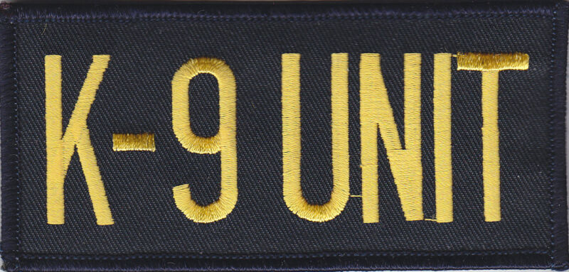 """K9-UNIT Gold/Midnight Navy Front Panel Patch 2"""" X 4.25"""" police/sheriff/trooper"""