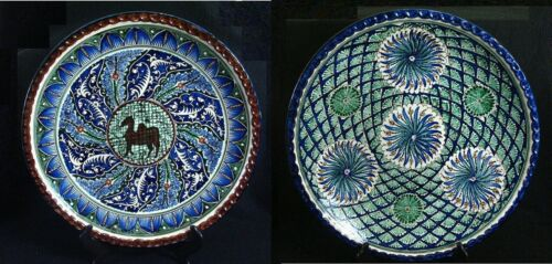 "2 Antique Jerusalem Palestine Armenian Pottery Signed Hand Painted 16"" Bowl"