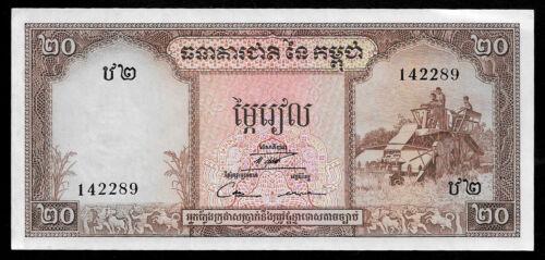 World Paper Money - Cambodia 20 Riels 1956-75 P5 @ Crisp AU-UNC