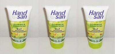 (1L=26,22€) 3x Handsan Sommer Handcreme 2in1 Pflegend & Antibakteriell , 3x75ml