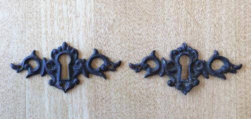 Pair Antique Victorian Cast Brass Key Hole Cover, Escutcheon, Furniture Hardware