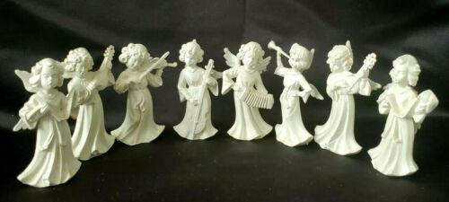 EIGHT (8) VTG MINIATURE IVORY-COLOR PLASTIC CHRISTMAS ANGEL MUSICIANS FIGURINES