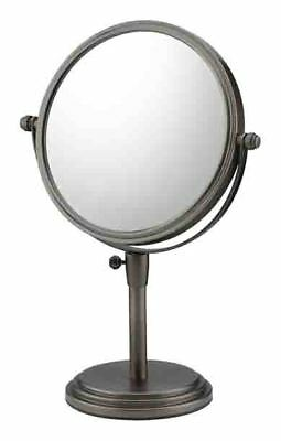 CLASSIC ADJUSTABLE MAGNIFIED FREE STANDING MAKEUP MIRROR, Brushed Nickel