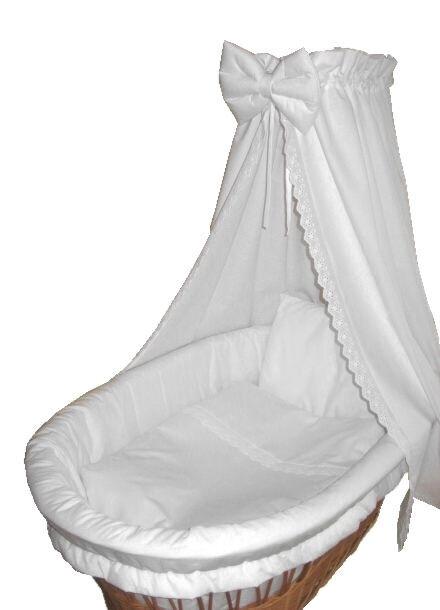Baby Ausstattung für Stubenwagen Wattiert 7-tlg weiß