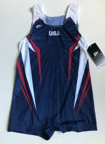 Men's GK Elite Red/White/Blue USA Competition Leotard Singlet Step-in Size AM