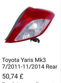 TOYOTA YARIS TWO LAMPS. BRAND NEW