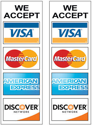 2 Pack - We Accept Credit Card Sign Sticker Decal Store Window Visa 3x9 Wb