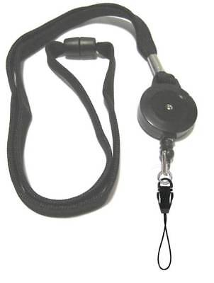 Black Retractable Lanyard Reel Inc Detachable Mobile Loop With Safety Breakaway