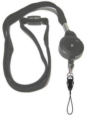 Black Retractable Lanyard Reel Inc Detachable Mobile Loop With Safety Breakaway