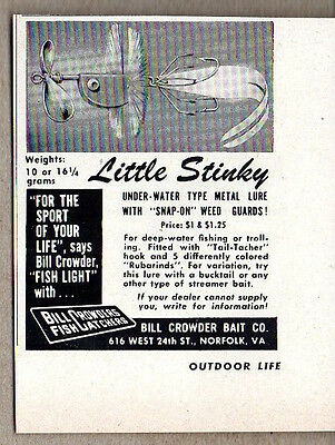 1951 Vintage Ad Little Stinky Fishing Lures Bill Crowder Bait Norfolk,VA