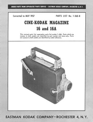 Used, Cine Kodak Magazine 16 and 16A Movie Camera Repair Manual Reprint for sale  Shipping to India