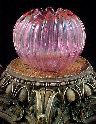 1900 Antique Bohemian Kralik Cranberry to Pink Art Nouveau Glass Rose Bowl Vase