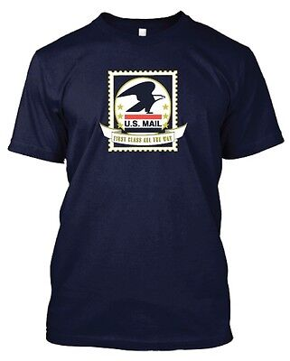 Usps Postal U S Mail First Class All The Way Navy T Shirt 3 Color On Front S 5X