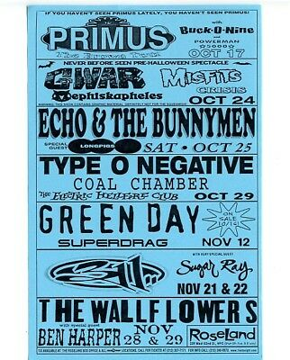 Green Day Misfits 311 Primus Gwar Superdrag 1997 Roseland NYC Concert Handbill