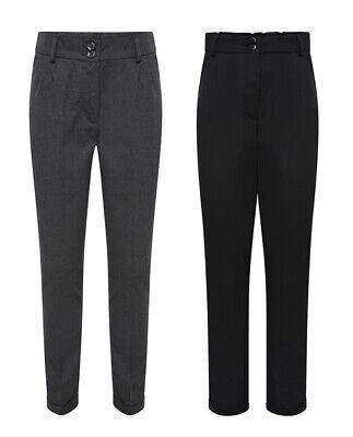 Girls School Trousers Black Grey Slim Leg Adjustable Waist Uniform Turned Up Hem