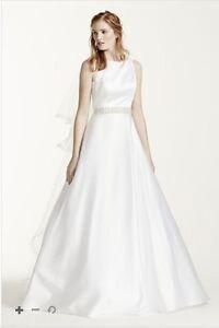 David's Bridal Satin A-Line Wedding Dress (Never Worn!) Size 14