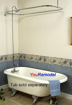 Premium Clawfoot Tub Shower Diverter Faucet & Rod Set