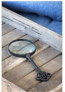 Vintage Style Cast Iron Key Handled Magnifying Glass~Desktop Magnifier