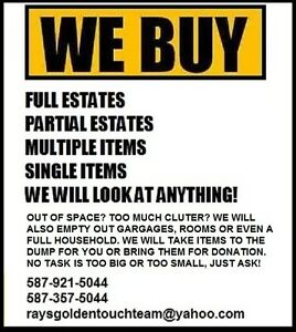 Looking for items or estates to buy. We will look at anything!
