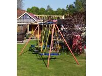Kids Multi Play 3 Bar Swing Set with Seesaw, Classic Swing, Surf Plank Swing Kettler