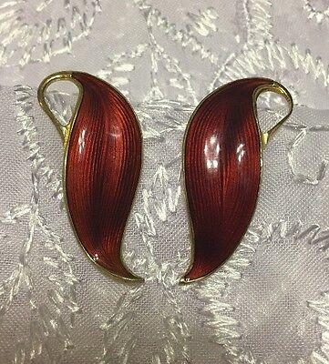 FINN JENSEN  Norway 925S Sterling Silver Guilloche Burgandy ENAMEL Leaf Earrings