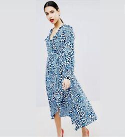 Exquisite Karen Millen Leopard Print Midi Dress UK12 Stunning