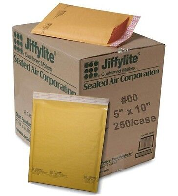 (250) #00 5 x 10 Sealed Air Jiffy Bubble Padded Mailers Shipping Envelopes