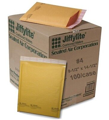 (100) #4 9.5 x 14.5 Sealed Air Jiffy Bubble Padded Mailers Shipping Envelopes
