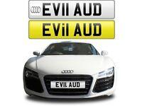 AUDI cherished private personalised number plate. Evil Aud - EV11 AUD