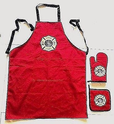 KITCHEN Gift Set. Apron,oven mitt,and pot holder with EMBROIDERED MALTESE CROSS Gift Set Pot
