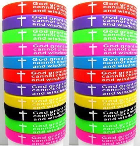 25pcs Colorful Serenity Prayer Bible Cross Silicone Bracelets Wristbands Bangles