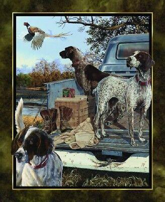 "Springs Creative ~ Hunting Bird Gun Dogs ~ 100% Cotton Fabric 36"" Quilt Panel"
