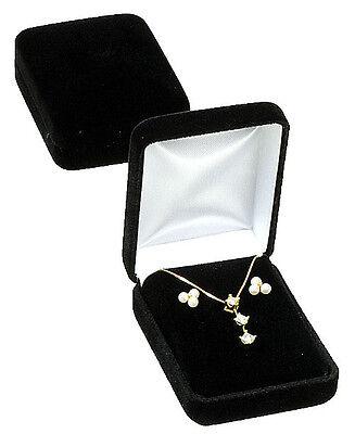 Black Velvet Pendant Earring Jewelry Gift Box 2 14 X 3 X 1 14h