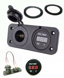 Waterproof-Socket-Power-Outlet-Volt-Meter-Panel-Mount-Marine-12-24-V-Voltmeter