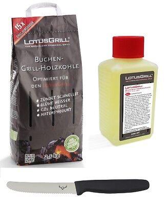 LotusGrill Buchenholzkohle 2,5 kg und Brennpaste inkl. Edelwild-Allzweckmesser