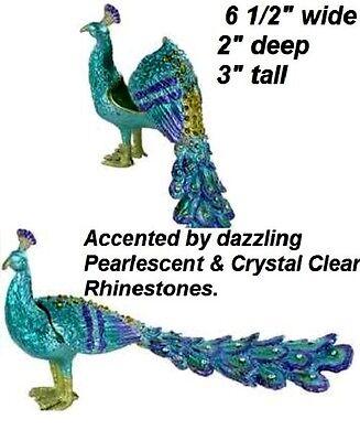 "Pearlescent metal peacock Crystal Rhinestone Jewelry Trinket Box w/ Closure 6.5"""