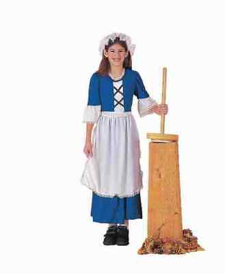 Colonial Girl Costume 3 Pc Bl & Wht. Dress Apron & Mob Cap Book Report Costume