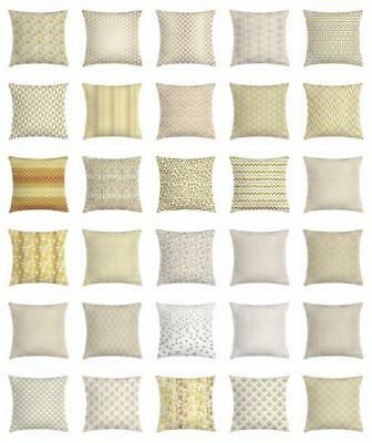 Yellow and White Throw Pillow Cases Cushion Covers Ambesonne