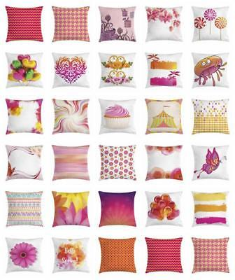 Orange and Pink Throw Pillow Cases Cushion Covers Ambesonne Home Decor 8 Sizes](Orange And Pink Decorations)