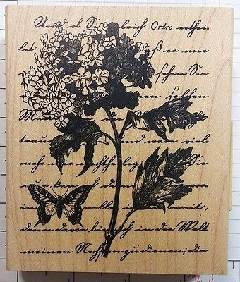INKADINKADO rubber stamp HYDRANGEA COLLAGE wood mounted, Flo