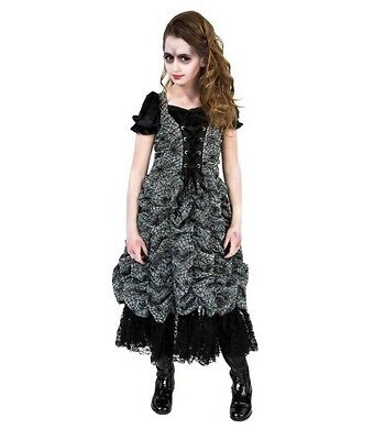 Goth Zombie Spider Girls Scary Costume Large 12/14, Black & Silver, Multi Layer